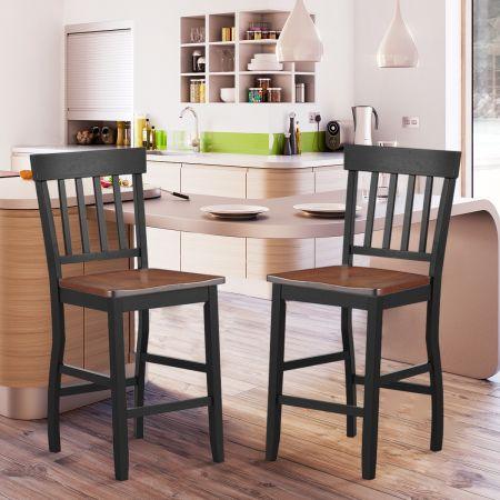 Costway 2 Chaise de Bar pour Comptoir Hauteur d'Assise:61cm en Bois de Caoutchouc Solide Siège en Noyer Charge max:120 kg