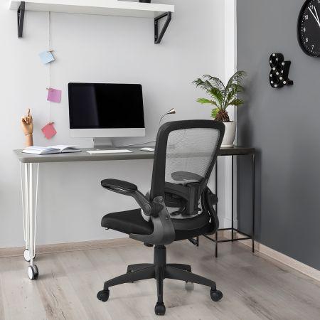 Costway Chaise de Bureau à Roulette avec Support Lombaire de Massage Rechargé par USB Dossier Haut Accoudoirs Relevables Gris