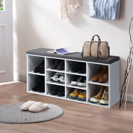 Costway Meuble à Chaussures Banc à Chaussures en Bois 104 x 30 x 48 CM Blanc Grande Capacité de Rangement