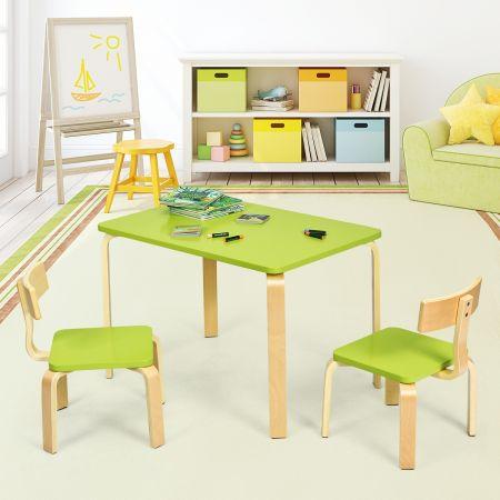 Costway Ensemble Table et Chaise pour Enfant Inclus 1 Table et 2 Chaises Bonne Protection en Bois Courbé Vert