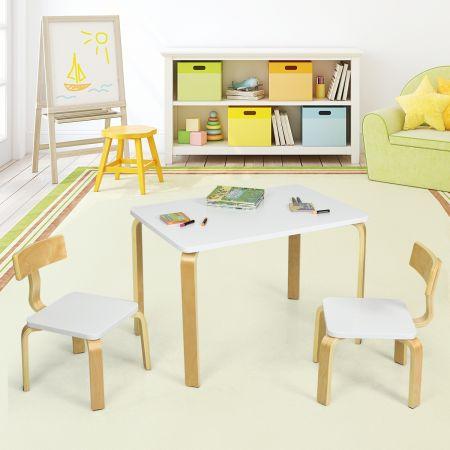 Costway Ensemble Table et Chaise pour Enfant Inclus 1 Table et 2 Chaises Bonne Protection en Bois Courbé Blanc