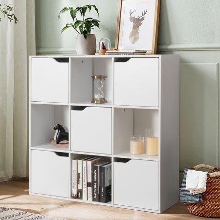 Costway Bibliothèque de Rangement Cube de Rangement 5 avec Portes 90 x 29 x 90 cm Blanc
