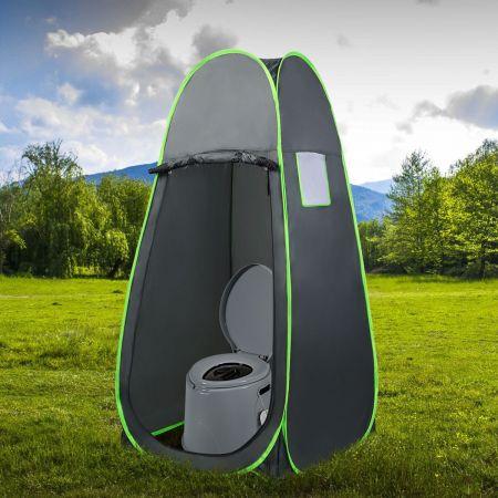 Costway Toilette Portable pour Camping Extérieure avec Seau Intérieur 5L en PP Charge 200KG