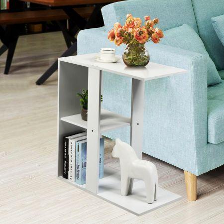 Costway Table d'Appoint avec 3 Niveaux Bibliothèque Bout de Canapé de Style Moderne