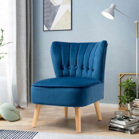 Costway Chaise de Salon Confortable en Velours avec Coussin Rembourré Antidérapants Bleu Style Élégant