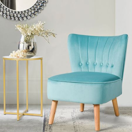 Costway Chaise de Salon Confortable en Velours avec Coussin Rembourré Antidérapants Vert Style Élégant