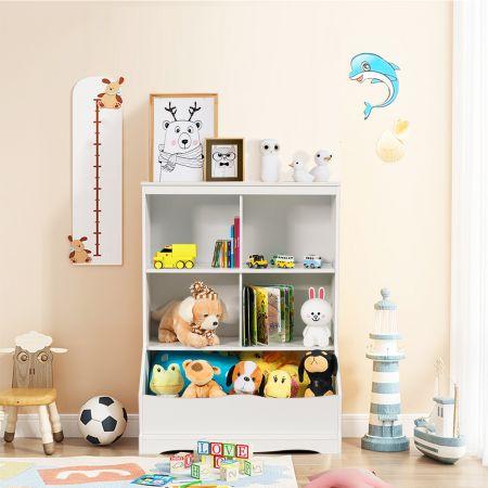Costway Meuble de Rangement pour Jouets à 3 Niveaux avec 4 Compartiments Ouverts et un Bac Bibliothèque pour Enfants Blanc