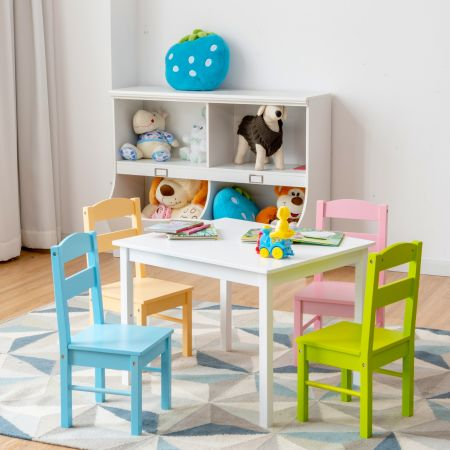 Costway Ensemble Table et 4 Chaises en Bois pour Enfant Table de Couleur Blanche