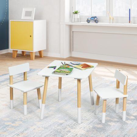 Costway Ensemble de Table et 2 Chaises pour Enfants de Style Scandinave en Bois Table pour Chambre d'Enfant Garderie Blanche
