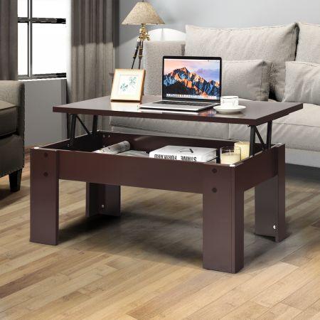 Costway Table Basse avec Compartiment de Rangement Caché et Plateau de Table Surélevé pour Séjour Salle de Réception Marron