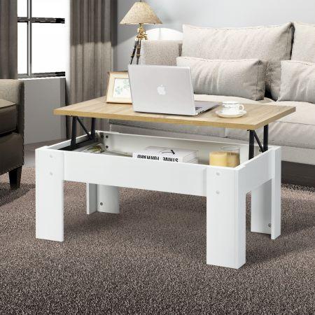 Costway Table Basse avec Compartiment de Rangement Caché et Plateau de Table Surélevé pour Séjour Salle de Réception Blanc