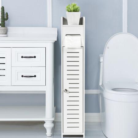 Costway Porte-Papier Toilette Rangement WC Armoire de Salle de Bain Sur Pied en MDF Blanc 15 x 17 x 80 CM