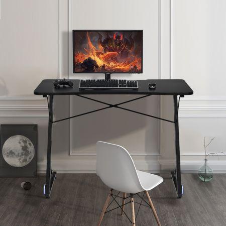Costway Gamer Bureau de Jeu 110 X 60 X 78 CM en Forme de Z avec Lumière LED et Range-câbles Surface Fibre de Carbone