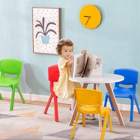 Costway Chaises pour Enfants Fabriquer en Plastique Multicolore Idéal pour Salle de Jeux Jardin d'Enfant