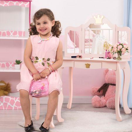Costway Coiffeuse pour Enfants  avec Miroir à Trois Volets Dessus amovible Tabouret Inclus Rose