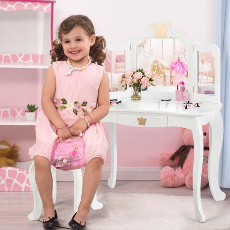 Costway Coiffeuse pour Enfants  avec Miroir à Trois Volets Dessus amovible Tabouret Inclus Blanc