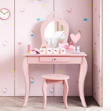 Costway Coiffeuse Enfant avec Miroir Inclus de Table de Maquillage et deTabouret Dessus Amovible Rose
