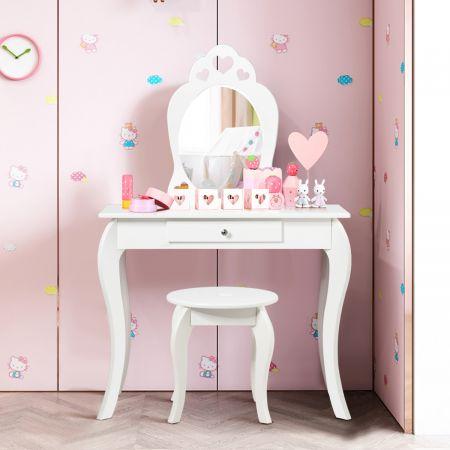 Costway Coiffeuse Enfant avec Miroir Inclus de Table de Maquillage et deTabouret Dessus Amovible Blanc