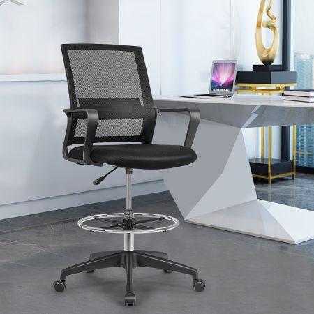 Costway Chaise de Bureau Pivotante avec Repose-pieds Accoudoirs Soutien Lombaire Réglable en Hauteur 103-122CM Capacité de Charge 120KG