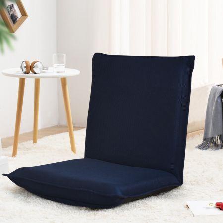 Costway Chaise de Sol Pliable Tatami Inclinable en 6 Position 44 x 54,5 x 53,5 CM Bleu marine