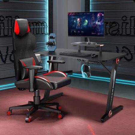 Costway Bureau Gamer Table de Jeu pour Gaming Surface en Fibre de Carbone Lumières RVB avec Porte-Gobelet Crochet pour Casque