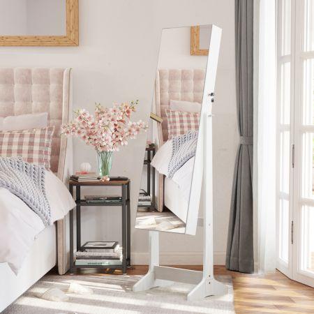 Costway Armoire à Bijoux avec Grand Miroir PsychéVerrouillable Réglable sur 3 Positions Blanc