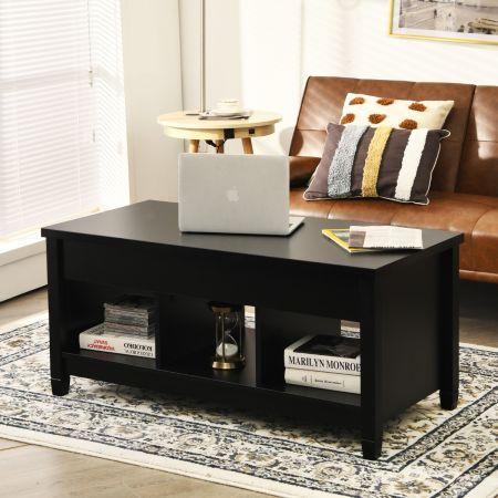 Costway Table Basse avec Plateau Relevable 3 Compartiments Ouverts pour Rangement Polyvalents pour Salon Bureau Noir