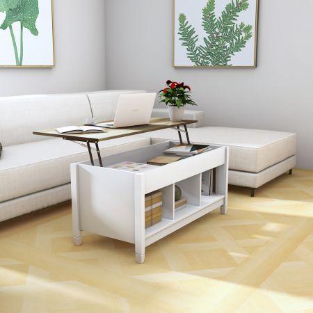 Costway Table Basse avec Plateau Relevable 3 Compartiments Ouverts pour Rangement Polyvalents pour Salon Bureau  Blanc
