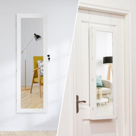 Costway Armoire à Bijoux Mural avec Miroir et LED Accrochée à la Porte avec Serrure Verrouillable Blanc