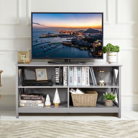 Costway Meuble TV à 3 niveaux pour TV de 55 Pouces avec Étagères de Rangement 120 x 41 x 60cm Style Industriel Gris