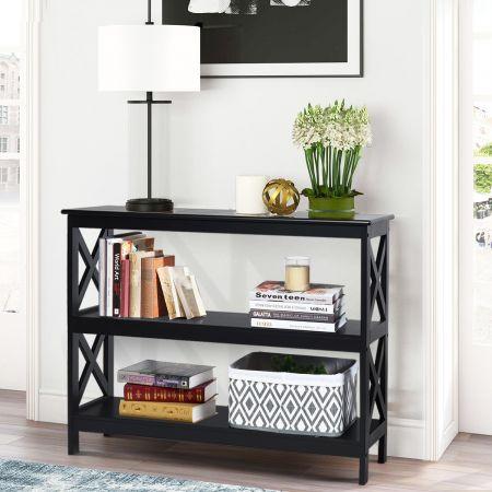 Costway Table Console Table de Canapé Style Industriel 100 x 33 x 80 CM avec 2 Étagère de Rangement Noir