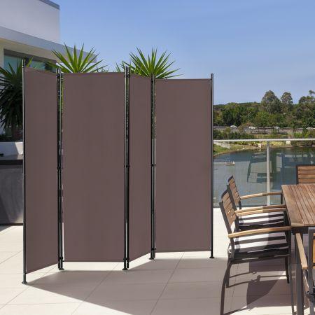 Costway Paravent à 4 Panneaux Pliable Cloison de Séparation 220x170cm Pieds Réglable Café