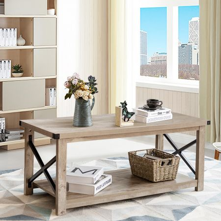 Costway Table Basse Rustique 110x50x46CM Table de Salon à 2 Niveaux avec Étagère de Rangement Grand Plateau et Cadre en X Gris