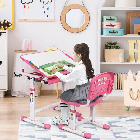 Costway Bureau Enfant Ergonomique Hauteurs et Angle Réglable 0-40° Ensemble Table avec Chaises Table à Dessin avec 1 Tiroir Rose