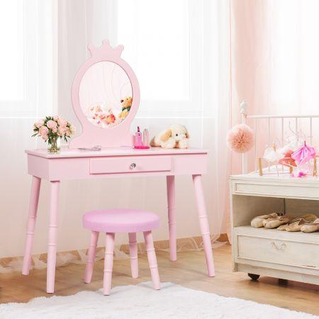 Costway Coiffeuse Enfant avec Tiroir et tabouret Table de Maquillage de Filles Style Princesse Européenne Rose