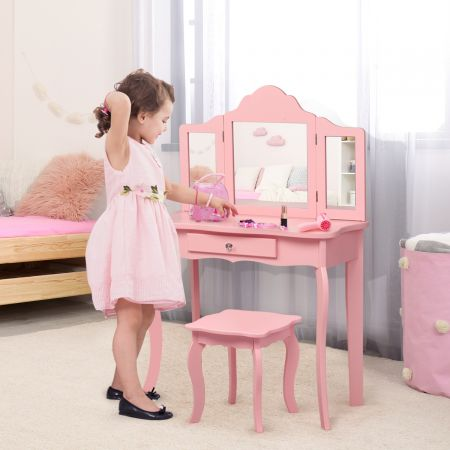 Costway Coiffeuse Enfant Rose avec Tabouret Table de Maquillage avec Miroir à Trois Panneaux et Tiroir 70 x 34 x 104 CM Rose