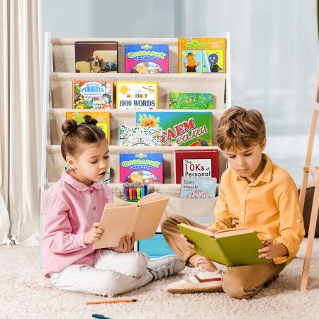 Costway Bibliothèque pour Enfant Étagère de Rangement avec 4 Etagères à Bandoulière et 2 Boîtes pour Jouets Beige