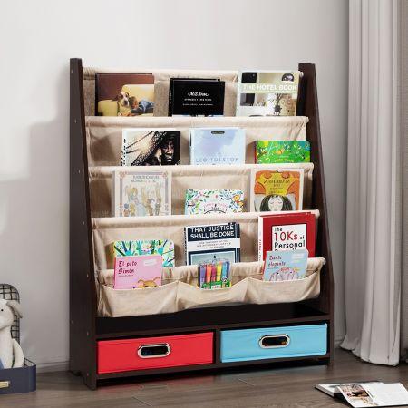 Costway Bibliothèque pour Enfant Étagère de Rangement avec 4 Etagères à Bandoulière et 2 Boîtes pour Jouets Café