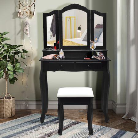 Costway Coiffeuse Table de Maquillage avec 3 Miroirs Tournable Tabouret et 4 Tiroirs  80 x 40,5 x 137cm