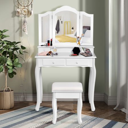Costway Coiffeuse Table de Maquillage avec 3 Miroirs Tournable et Tabouret 80x40x138cm