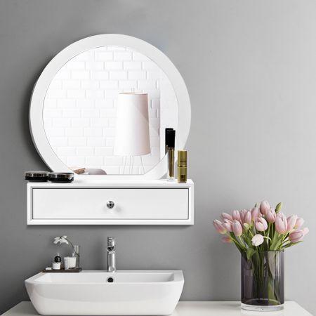 Costway Miroir de Maquillage sur Coiffeuse Miroir de Courtoisie avec 2 Tiroirs Amovible Blanc