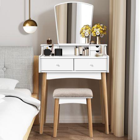 Costway Coiffeuse Table de Maquillage avec Miroirs Tabouret et 6 Tiroirs 69 x 40 x 132 cm