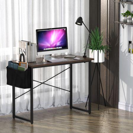 Costway Table de Bureau de Travail avec Porte-documents Latéral 102x51x76CM Style Industriel Café
