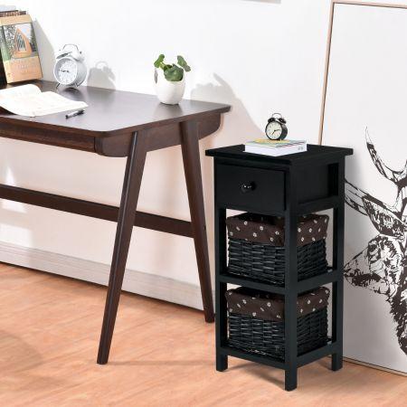 Costway Table de Chevet Table de Nuit avec 1 Tiroir et 2 Panier d'Osier Amovible Cadre en Bois de Paulownia Noir