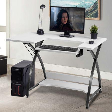 Costway Table de Couture 2 en 1 Bureau 116,5 x 59,5 x 76 CM avec 1 Plate-forme Supplémentaire Pliable de Rangement Blanc