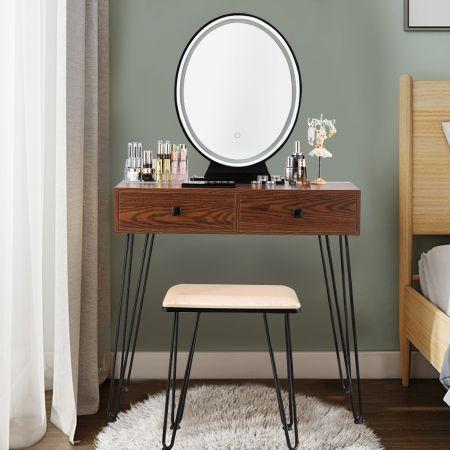 Costway Coiffeuse Table de Maquillage avec 1 Miroir Tactile à LED Choix d'Eclairage 3 Couleurs de Style Industriel Brun Rustique