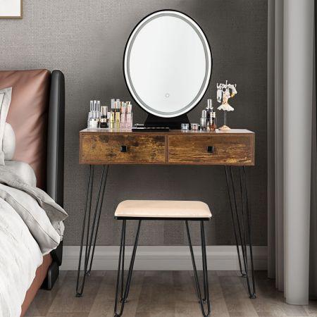 Costway Coiffeuse Table de Maquillage avec 1 Miroir Tactile à LED Choix d'Eclairage 3 Couleurs de Style Industriel Marron