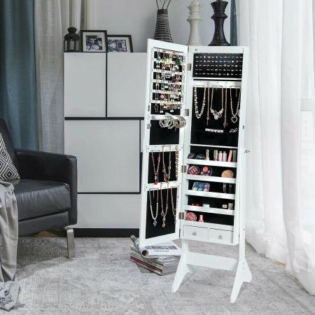 Costway Armoire à Bijoux sur Pied avec LED Serrure Verrouillable Rangement Cosmétique Angles Réglables Blanc
