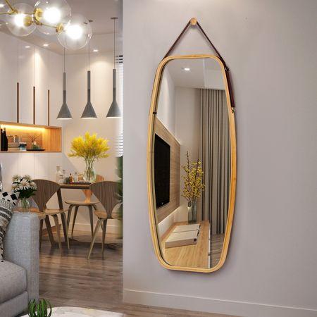 Costway Miroir Mural Suspendu avec Cadre en Bambou et Sangle en Cuir Réglable Coin Arrondi 99 x 45 x 1,5cm