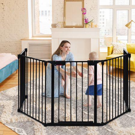 Costway Barrière de Sécurité pour Enfant/Animaux 290 x 74 CM 5 Panneaux Protection Cheminée Utilisation Murale ou Autoportante Noir